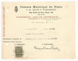 Receipt * Portugal * 1941 * Porto * Câmara Municipal Do Pôrto * Holed - Portugal
