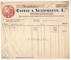 Invoice * Portugal * 1947 * Porto * Só-indústria * Osório & Sottomayor, Lda * Holed - Portugal