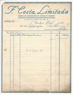 Invoice * Portugal * 1941 * Porto * F. Costa, Limitada * Holed - Portugal