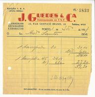Invoice * Portugal * 1937 * Porto * J. Guedes & Cª * Holed - Portugal