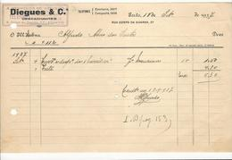 Invoice * Portugal * 1937 * Porto * Diegues & Cª * Holed - Portugal