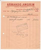 Invoice * Portugal * 1937 * Vila Da Feira * Armando Amorim * Holed - Portugal
