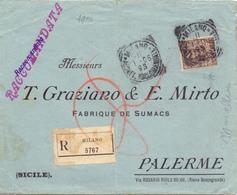 1906 Raccomandata Da Milano Per Palermo Con Floreale 40 Cent 021 - 1900-44 Vittorio Emanuele III