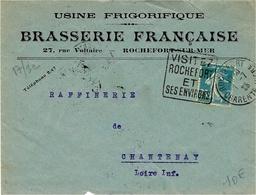 1925- Enveloppe à En-tête De Rochefort-sur-Mer ( Charente Maritime ) Affr. Semeuse 25 C Oblit. DAGUIN - Storia Postale
