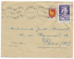 ENVELOPPE 1PHILIPPE AUGUSTE / VILLEFRANCHE AVEYRON / 1955 / FLAMME GRAND PRIX MOTOS - Poststempel (Briefe)