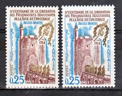 France 1566 Variété Maillons Usés Ou Cassés Traits Bleus Parasites Et Normal Tour De Constan Neuf ** TB MNH Sin Charnela - Varietà: 1960-69 Nuovi
