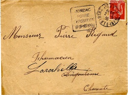"1930- Env.  De JONZAC ( Charente Maritime ) Affr. Fachi Oblit "" JONZAC / FOIRE / EXPOSITION / 8-9-10 MAI "" - 1921-1960: Periodo Moderno"