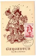 CARTE MAXIMUM FRANCE 1953 / PARIS  = CACHET FDC PREMIER JOUR N° 943 GARGANTUA / RABELAIS Thème VIN - Maximum Cards