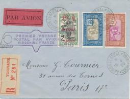 L Recommandé Tourane - Vol Record Saigon - Paris 12.4.1929 - Premier Voyage Postal Indochine - France - Poste Aérienne