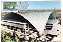 CARTE MAXIMUM FRANCE 1959 / 92 PUTEAUX  = CACHET FDC PREMIER JOUR N° 1206 CNIT PALAIS DU CENTRE NATIONAL DES INDUSTRIES - Maximum Cards