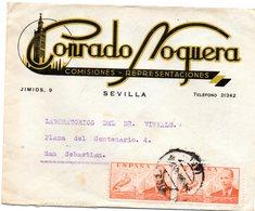 Carta Con Matasellos Sevilla Y Publicidad Conrado Noguera. - 1931-Today: 2nd Rep - ... Juan Carlos I