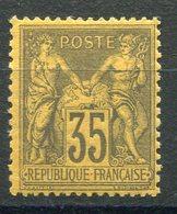 RC 9085 FRANCE N° 93 - SAGE 35c VIOLET NOIR SUR JAUNE TYPE II COTE 800€ NEUF * TB - 1876-1898 Sage (Tipo II)