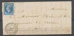 1864 Lettre N°22 Obl PC Du GC 886 + CAD T22 Perlé DROME RARE. P3798 - Storia Postale