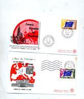 Lettre Cachet Flamme Muette Strasbourg Conseil Europe  Sur Drapeau - Postmark Collection (Covers)