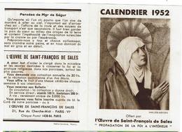 CALENDRIER 1952 - L'oeuvre De Saint-François De Sales - Papier Petit Format - Ouvert 14cm X9,8cm - Calendarios