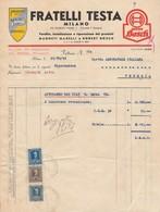 Milano.1949. FRATELLI TESTA, Con  Marche Imposta Generale Sull'entrata - Italia