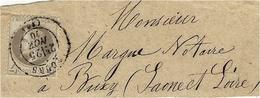 1870 - DEVANT De Bande De Journaux Affr. N° 27 SEUL Oblit. Cad T17 De TOURS Pour Buxy En S. Et L. - Marcofilie (losse Zegels)