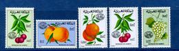- Etat : **  Maroc  5 Timbres  Fruits  YT 60,61,62,67,68    Cl Animaux 289 - Fruits