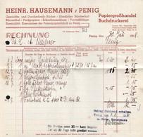 B4582 - Penig - Heinrich Hausemann - Papiergroßhandel Buchdruckrei - Rechnung 1938 - Germany