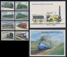 Tanzania 1989 Mi 573 /0 + B94 /B95 ** Steam Locomotives - From All Over The World / Dampflokomotiven - Ganzen Welt - Eisenbahnen