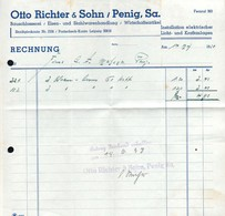 B4587 - Penig - Otto Richter & Sohn - Schlosserei Eisen Und Stahlwaren - Rechnung 1938 - Germany