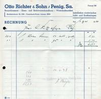 B4588 - Penig - Otto Richter & Sohn - Schlosserei Eisen Und Stahlwaren - Rechnung 1938 - Germany