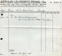 B4590 - Penig - Arthur Leuteritz - Getreide Mehl Salz Düngemittel Sämerei - Rechnung 1938 - Germany