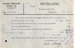 3526 - Rochlitz - Gustav Albrecht - Rechnung 1918 - Germany