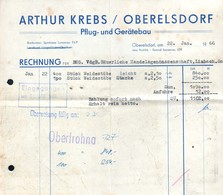 B4592 - Oberelsdorf Bei Lunzenau - Arthur Krebs - Pflug Und Gerätebau - Rechnung 1966 - Germany
