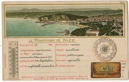 Carte Litho Precuseur  R. Wertenstein à Cannes Panorama Nice Barometre Thermometre Gaufrée  No 7858 - Landkarten