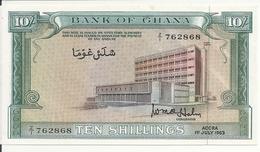 GHANA 10 SHILLINGS 1963 AUNC P 1 D - Ghana