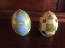 Coppia CANDELE UOVA PASQUA CERA WAX DIPINTE A MANO REGALO 7cm - Eggs