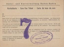 Santé - Thermalisme - Cure Thermale - Lot De 2 Cartes De Taxe De Cure - Cachet Gottlieb Frey Hotel Geist Baden Baden - Health