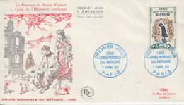 Enveloppe   FDC  1er Jour  FRANCE   Année  Mondiale  Du   Réfugié   PARIS  1960 - 1960-1969