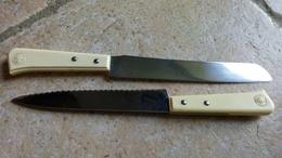 DUROL FRANCE (2) - MANCHE BAKELITE LOGO  + INOX - 2 GRANDS COUTEAUX A DENTS - 30cm - Viande Pain - Knives