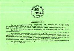 België - Dienstpostkaart 25/1996 - 21-07-1996 - 75ème Anniversaire Du Circuit Spa-Francorchamps- Stavelot - Automobile