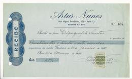 Receipt * Portugal * 1939 * Porto * Artur Nunes * Holed - Portugal
