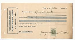 Receipt * Portugal * 1940 * Porto * Jeronymo D'Oliveira Carvalho * Oficina De Encadernação... * Holed - Portugal