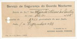 Receipt * Portugal * 1934 * Porto * Serviço De Segurança Do Guarda Nocturno * Holed - Portugal