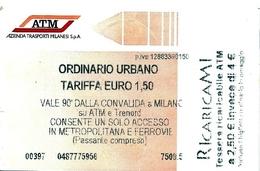 Biglietto  Usato   -  A T M   MILANO  -  Anno  2016 - Europe