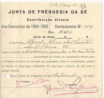 Receipt * Portugal * 1934 * Porto * Junta De Fréguesia Da Sé * Holed - Portugal