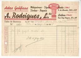 Receipt * Portugal * 1937 * Porto * Artes Gráficas * A. Rodrigues, Lda. * Holed - Portugal