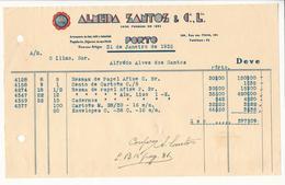 Invoice * Portugal * 1935 * Porto * Almeida Santos & Cª Lda * Holed - Portugal