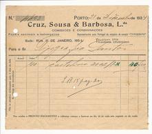Invoice * Portugal * 1934 * Porto * Cruz, Sousa & Barbosa, Lda * Holed - Portugal