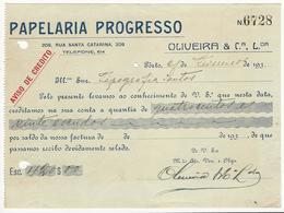 Credit Note * Portugal * 30's * Porto * Papelaria Progresso * Holed - Portugal
