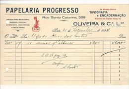Invoice * Portugal * 1934 * Porto * Papelaria Progresso * Holed - Portugal
