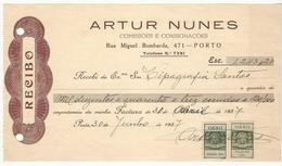 Receipt * Portugal * 1937 * Porto * Artur Nunes * Holed - Portugal