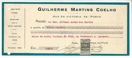 Receipt * Portugal * 1932 * Porto * Guilherme Martins Coelho * Holed - Portugal