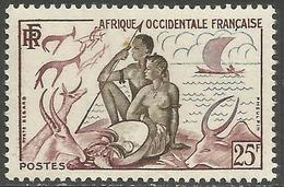 French West Africa - 1954 Hunting & Fishing 25f  MNH **   Mi 66   Sc 60 - Unused Stamps