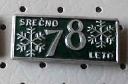 Happy New Year 1978 Snowflake Slovenia Pin - Christmas
